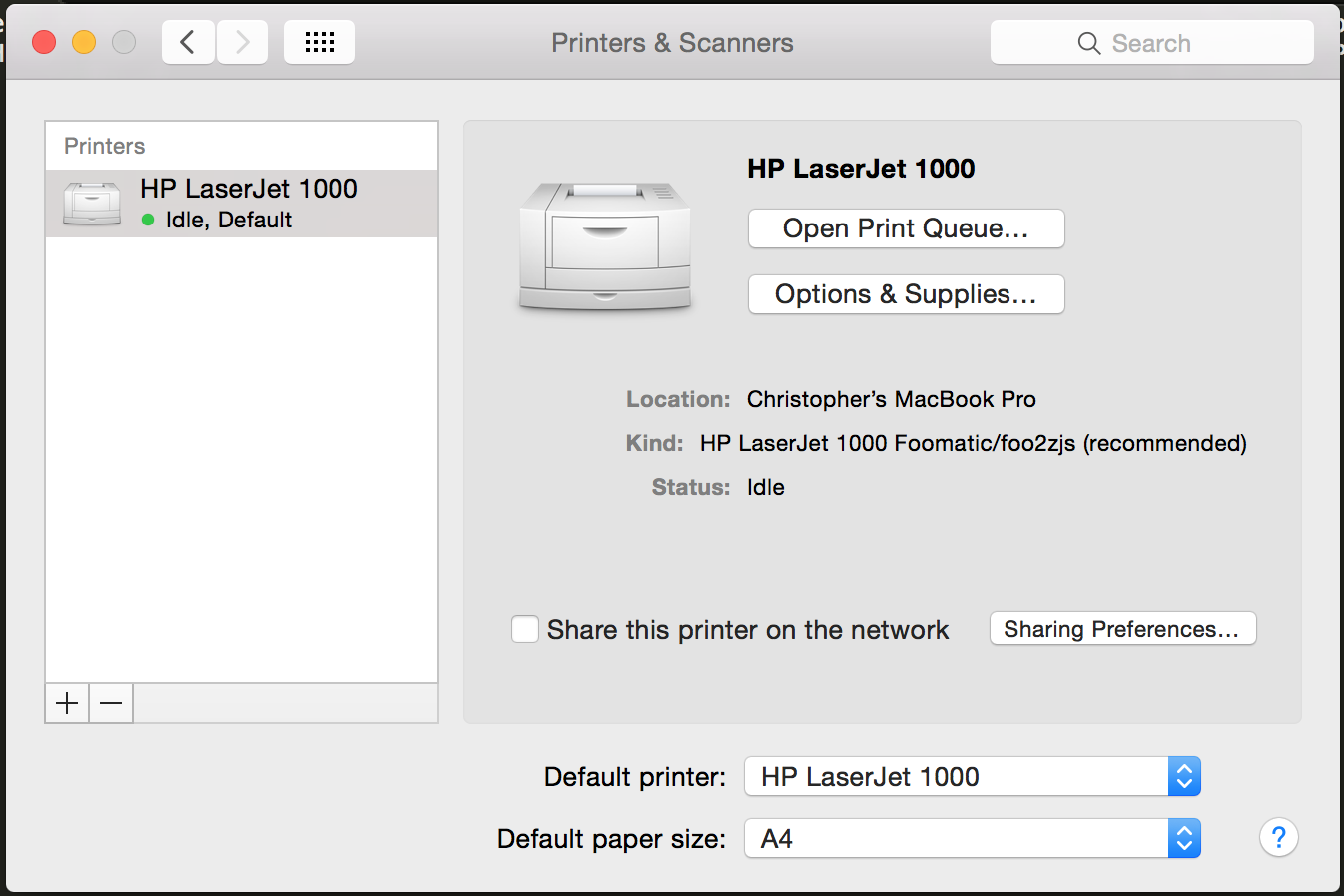 Mac printer settings for HP LaserJet 1000 screenshot