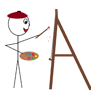 Painter wearing a beret, standing at an easel with a pallet and a brush dripping red paint.