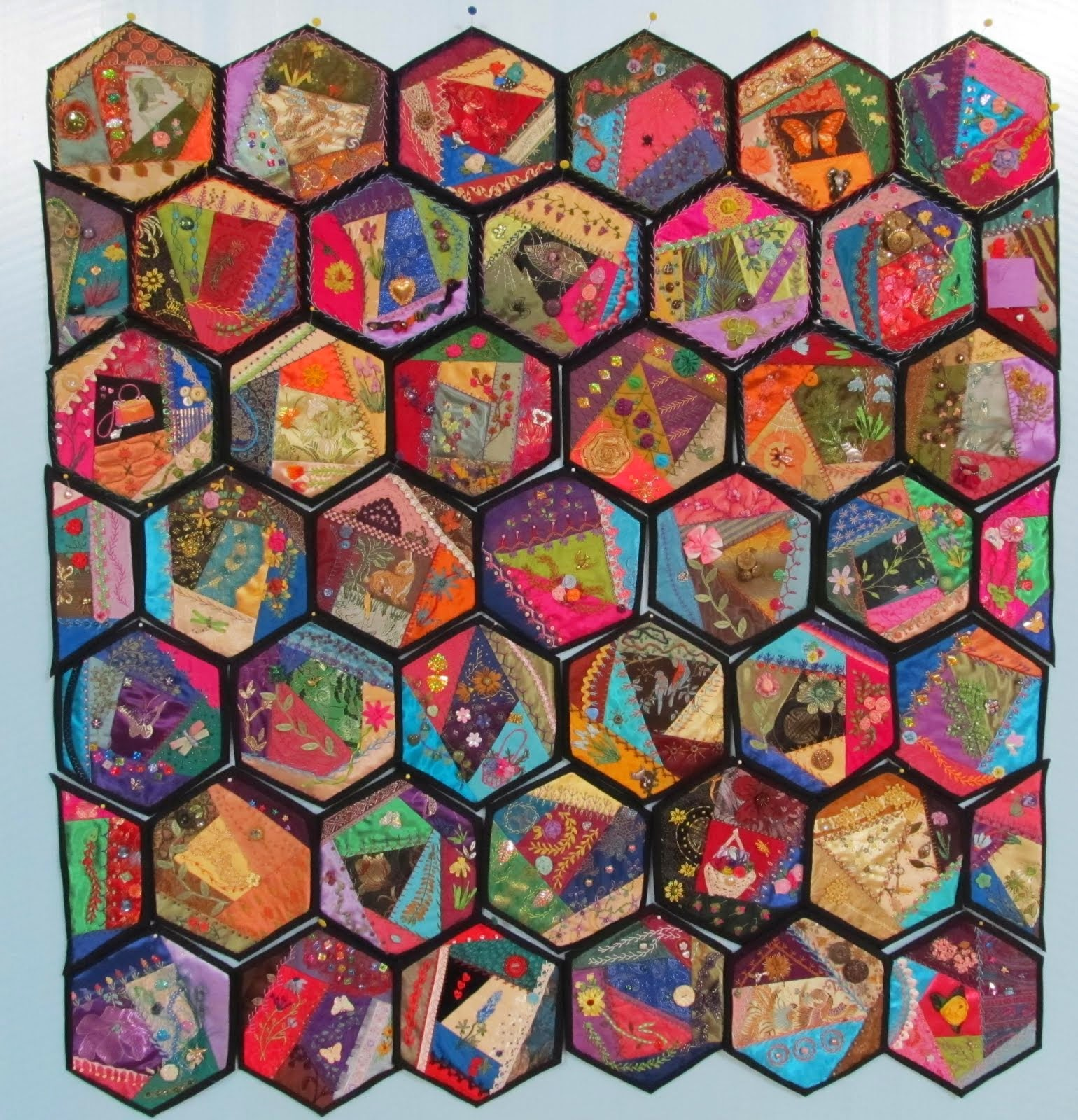 Hexagon Crazy Quilt in progress