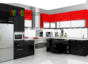 Kitchenset pelangi desain interior kitchen set merah hitam for Kitchen set hitam