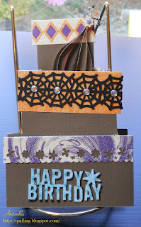 Quilled birthday card spellbinders