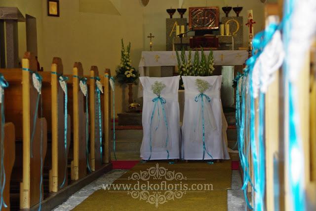 Ślub w górach Kotlina Kłodzka dekoracja w hortensjach na niebiesko