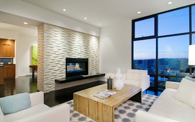 2013 Contemporary Luxury Living Room with Fireplace