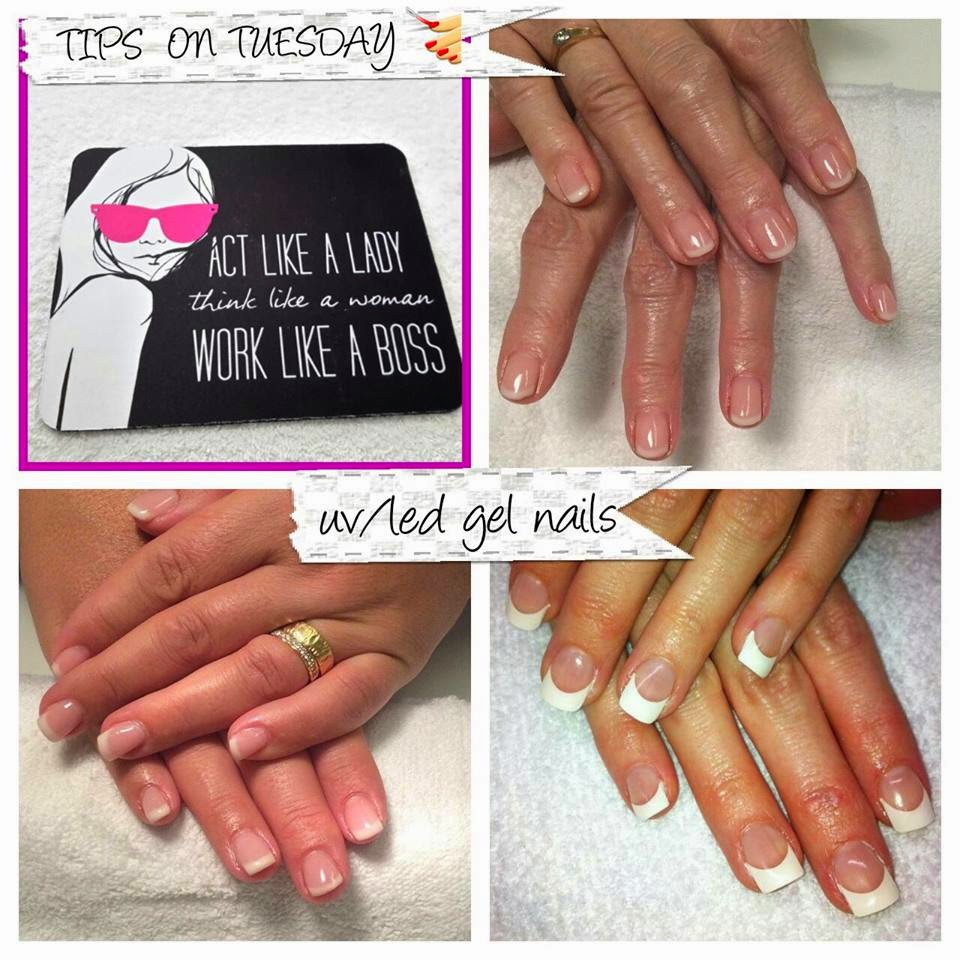 Classic natural and French white tips UV/led hard gel applications acrylic extensions French Shellac manicure purple