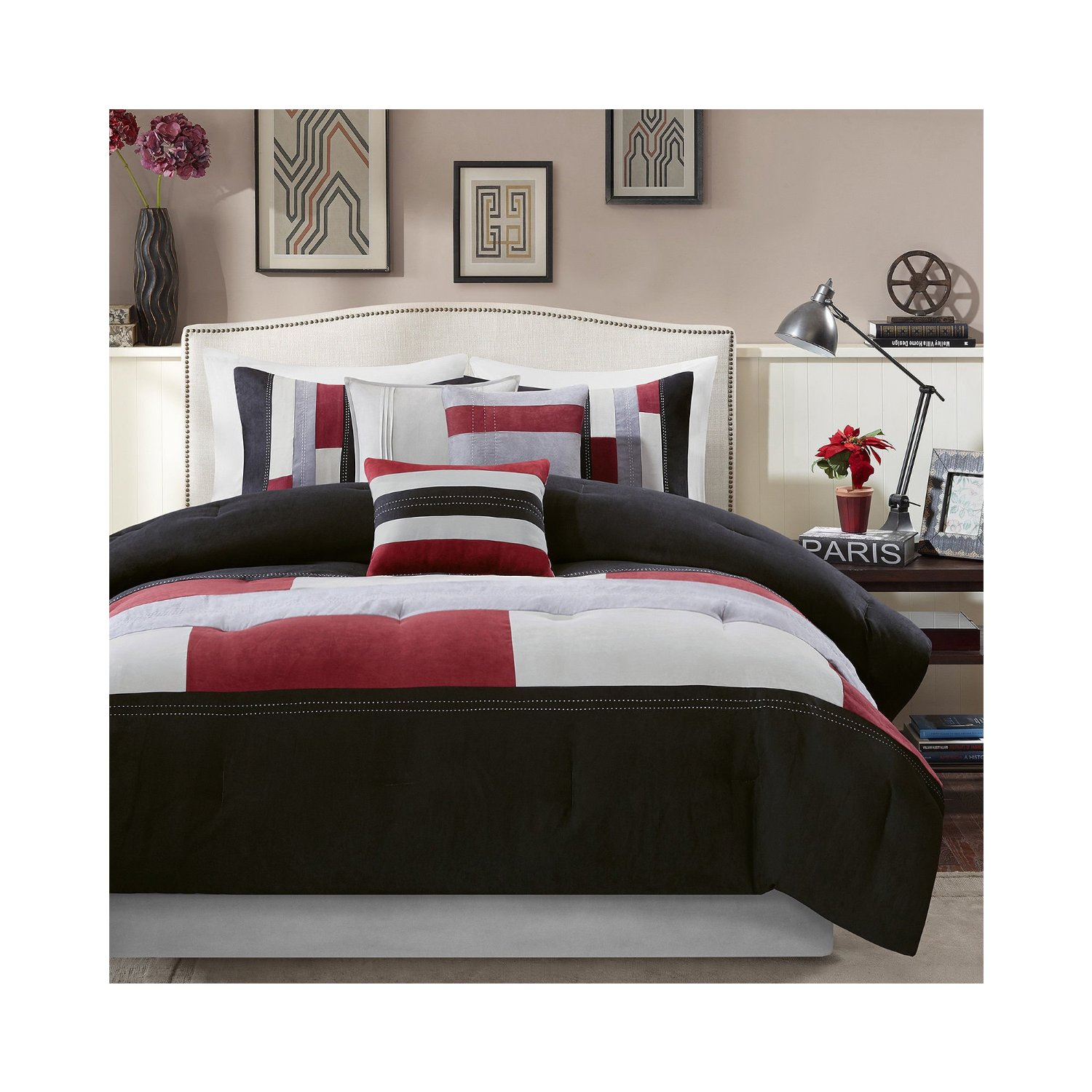 Red White and Black forters & Bedding Sets Bright Sopshiticated