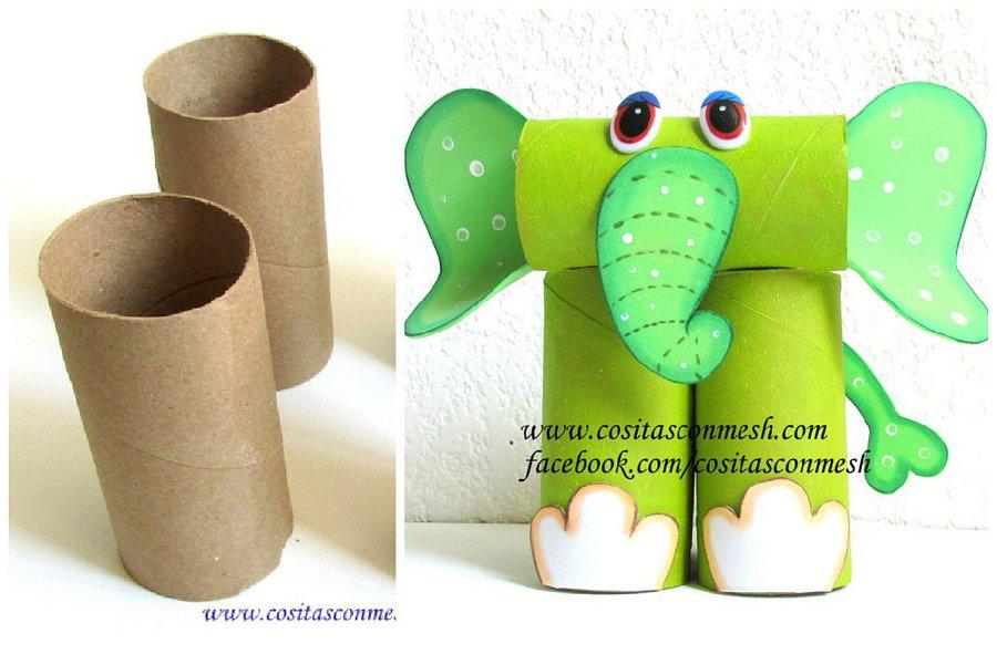 Mil artes mujer como hacer un elefante con tubos de papel - Hacer conos papel ...