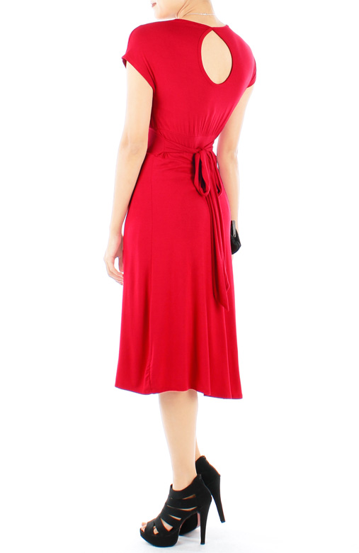Crimson Red Shell Wrap Ruched Knee Length Dress with Keyhole Back