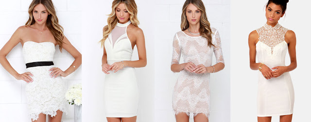 Strapless lace bodycon dresses, high-neck crochet white bodycon dresses, and more white gowns from LuLu's for parties, nightclubs, and formal events.