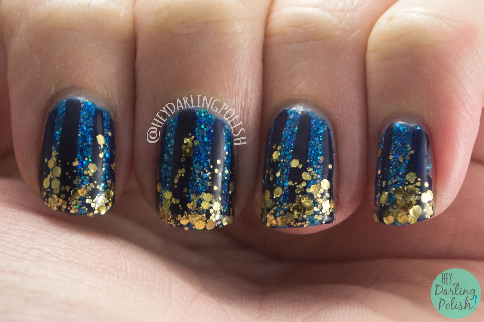 nails, nail art, nail polish, gold, glitter, blue, stripes, tape manicure, new years ever, hey darling polish, 31dc2015