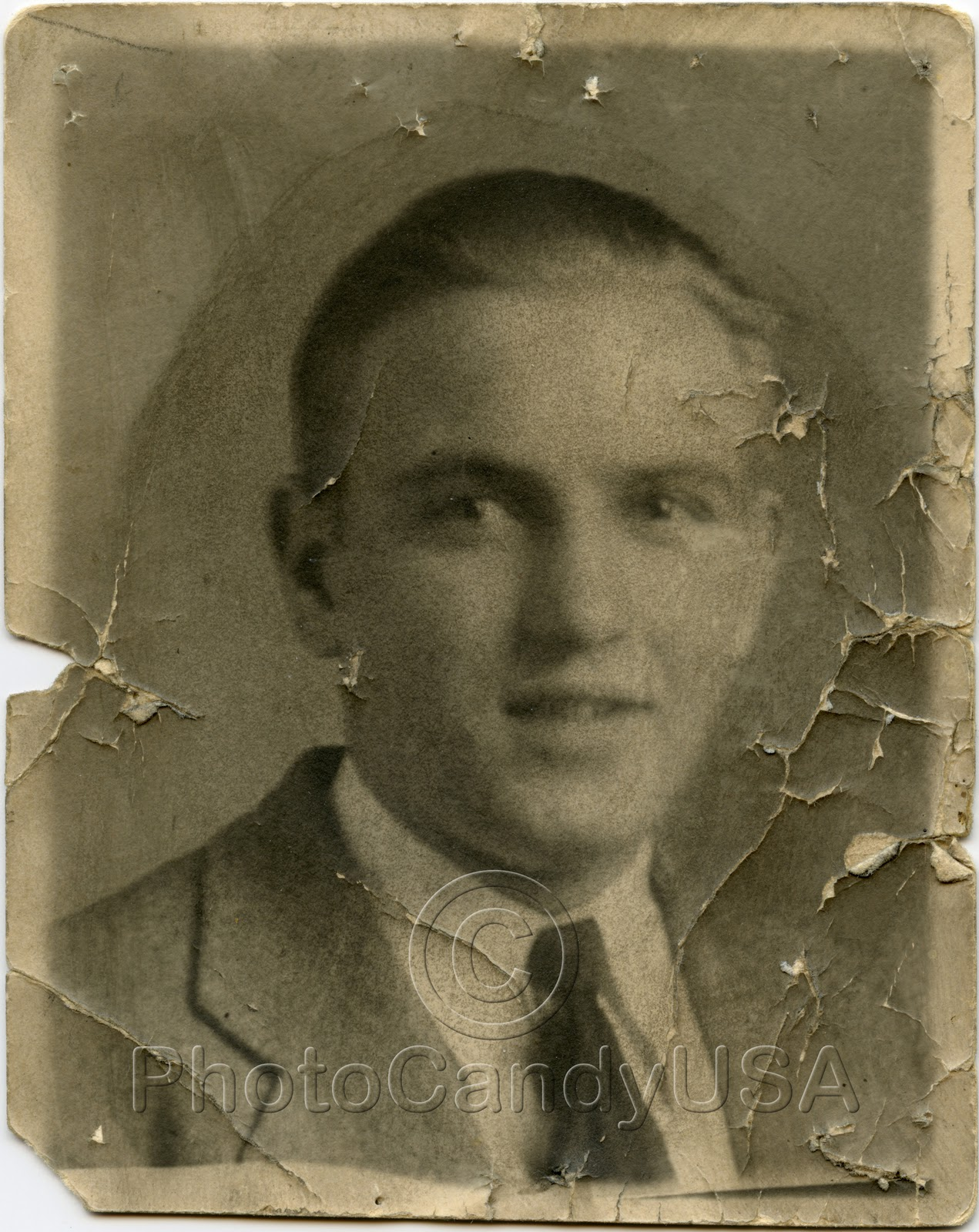 Old Damaged Black And White Photos With severe surface damageOld Damaged Black And White Photos
