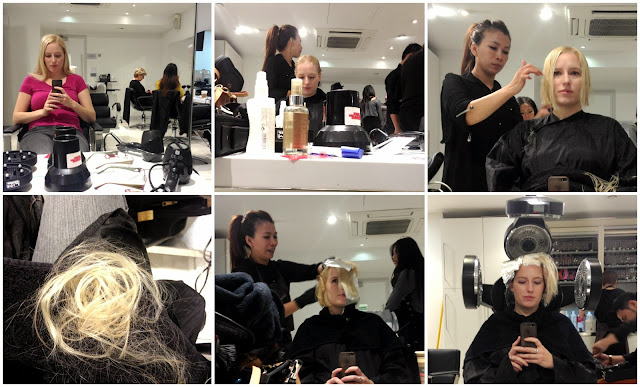 Collage of 6 pictures of a haircut and colour at Sassoon Academy