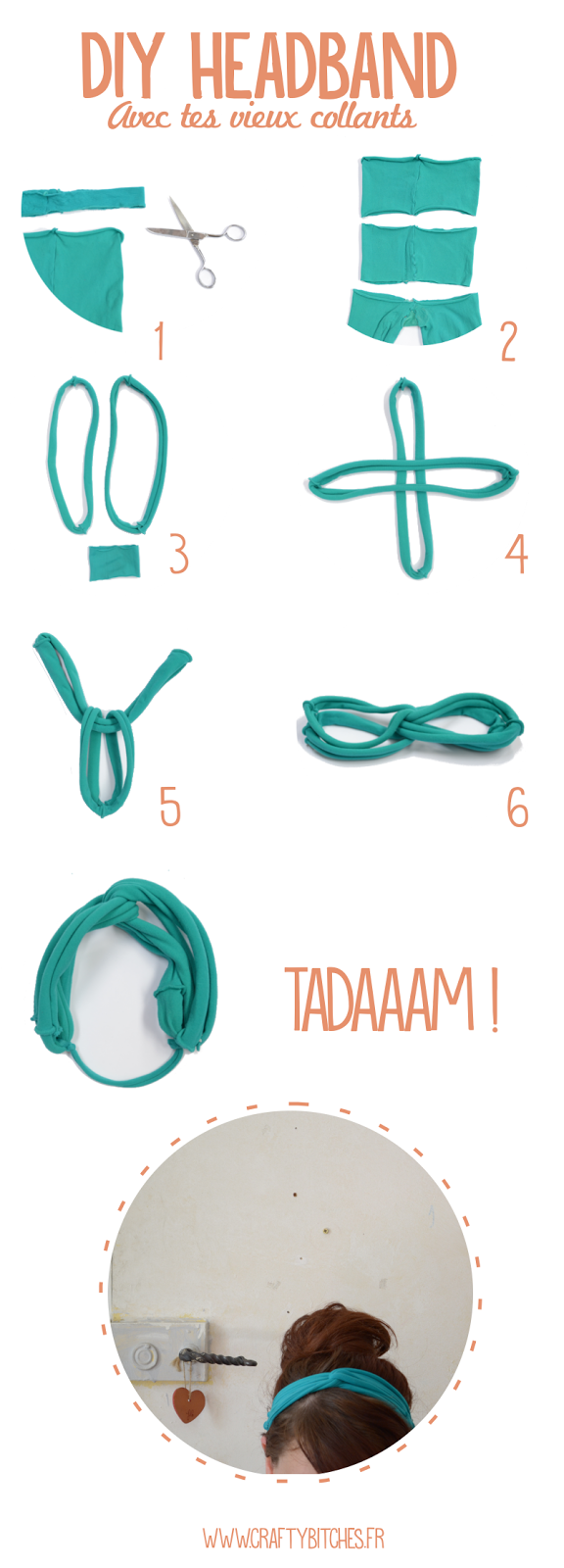 headband diy tuto collant
