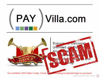 Payvilla.com Make Money Oline Referral Scam Exposed by Crackroach fake site