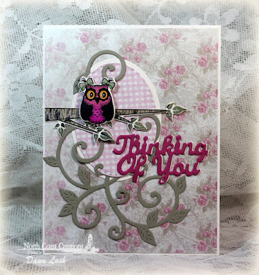 North Coast Creations Stamp set: Who  Loves You?, North Coast Creations Custom Dies: Owl Family, Thinking of You, Flourished Vine, Our Daily Bread Designs Shabby Rose Paper Collection, Our Daily Bread Designs Custom Dies: Ovals, Stitched Ovals