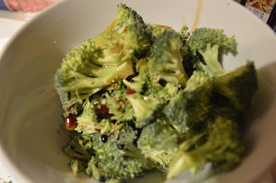 Broccoli mixed with soy, ginger and garlic