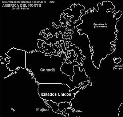 Mapa de las paises de Norteamerica (blanco y negro)