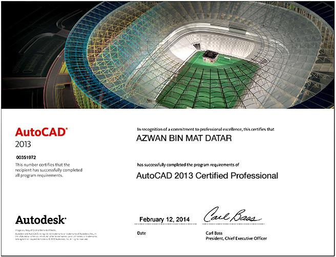 autocad certified professional Autocad 2013 certificate