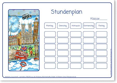 Stundenplan - London - Serie: Europa für Kinder - Format DIN A4 - Grundschule