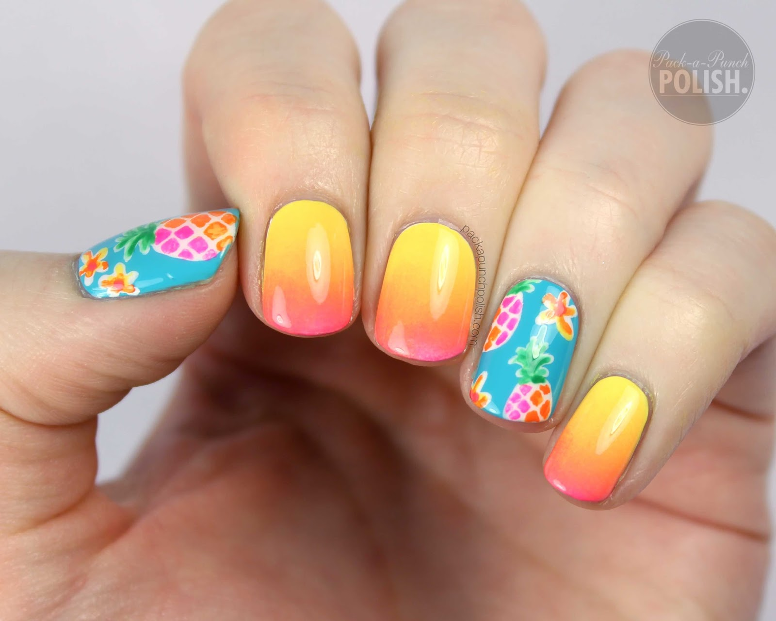 Packapunchpolish pineapple and ombre nail art with video tutorial pineapple and ombre nail art with video tutorial prinsesfo Image collections