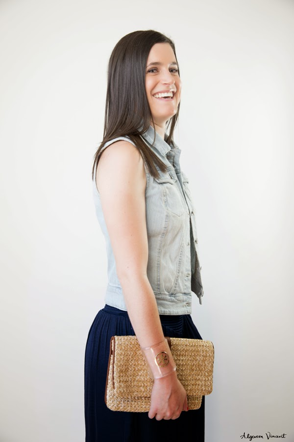 palazzo pants, Eva Mendes x New York & Company, navy palazzo pants, target denim vest, gap clutch, straw clutch