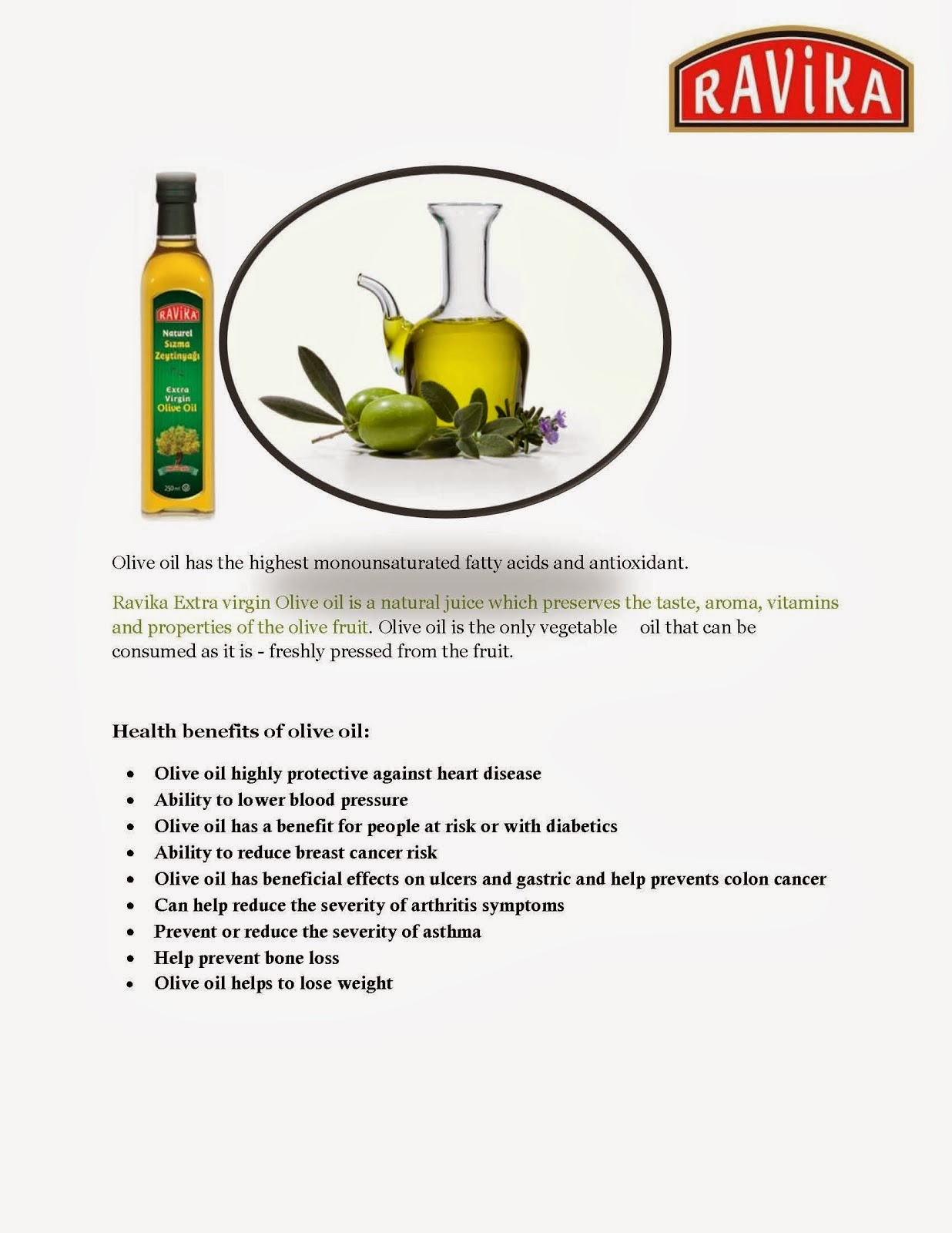 Benefit of Ravika Olive Oil