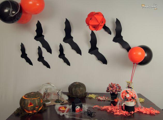 Murci lagos de papel para decorar en halloween un - Murcielagos para halloween ...