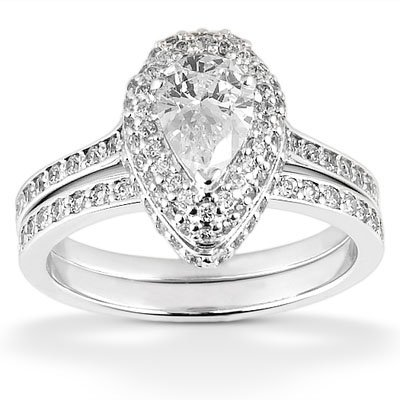 155 ct pear shaped halo diamond wedding rings set design engagement ring - Pear Shaped Wedding Ring Sets