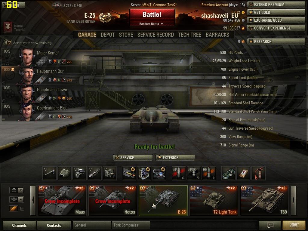 The Scrapyard: World of tanks 8.7 test E-25 german tank