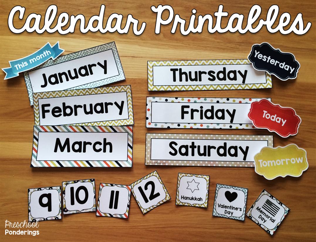Circle Time Calendar Printables : Preschool ponderings making circle time easier and