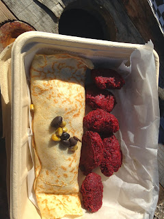 Whole Foods Truck, Houston TX Kenya Crepe and Beet Tots