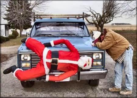 santa on truck hood