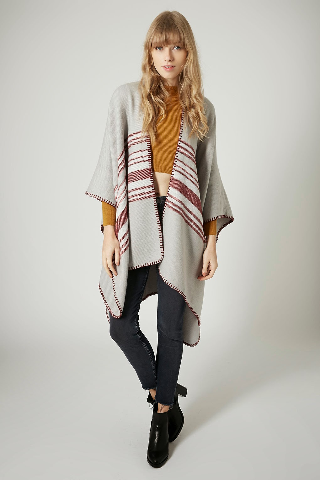 striped topshop cape
