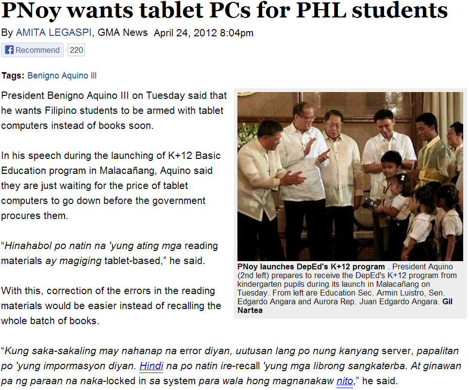 Philippine Basic Education: Tablets Instead Of Textbooks