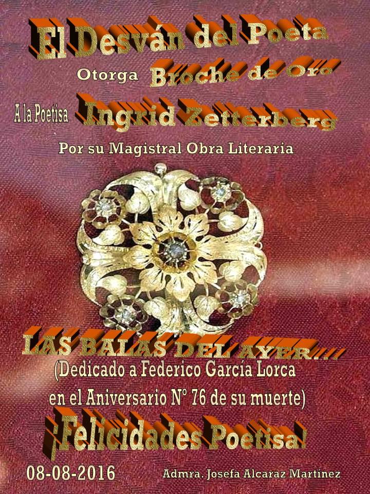 """Diploma especial: Broche de oro en """"El desván del poeta"""""""