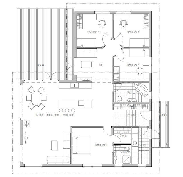 Affordable home plans affordable house plan ch28 for Affordable floor plans