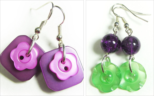 Cute button earrings have pink and purple buttons and long drop dangles have green buttons hanging from crackle glass beads