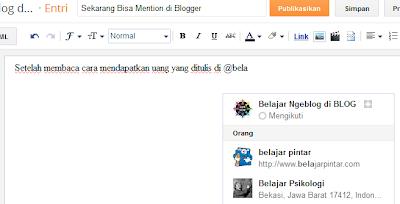 Sekarang Bisa Mention di Blogger