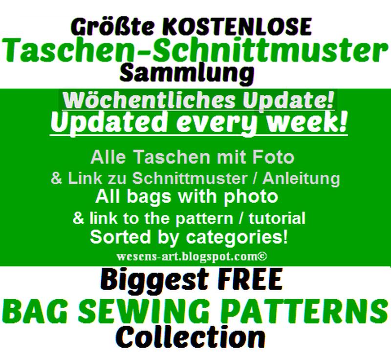 Größte kostenlose Taschen-Schnittmuster-Sammlung