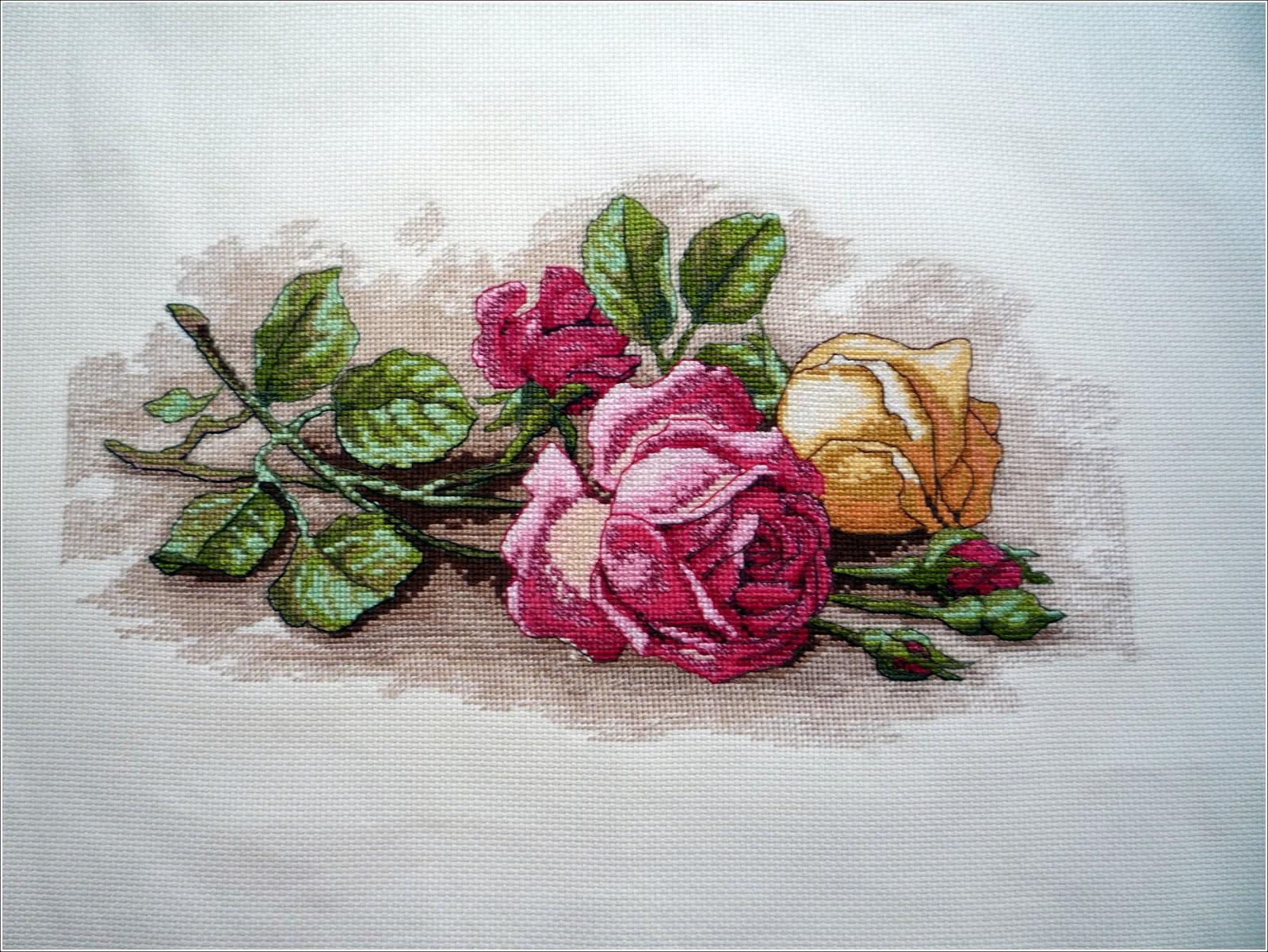 Вышивка срезанные розы дименшенс