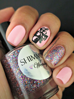 Shimmer Polish, Wendy, glitter, glitter bomb, swatch, lace, cute, simple, girly, pink, nails, nail art, nail design, mani