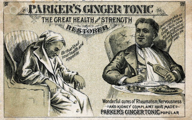 parker's ginger tonic advertisement for the great health and strength restorer