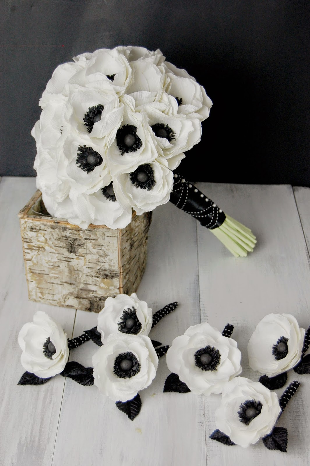 Anemone paper flower bridal bouquet black and white wedding paper flowers wedding bouquet black and white wedding mightylinksfo