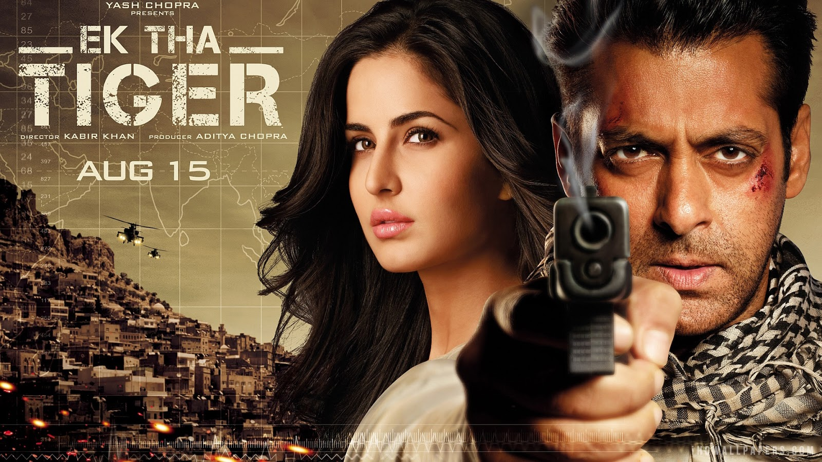 Salman Khan with Ex-Girlfriend Katrina Kaif in Ek Tha Tiger Movie