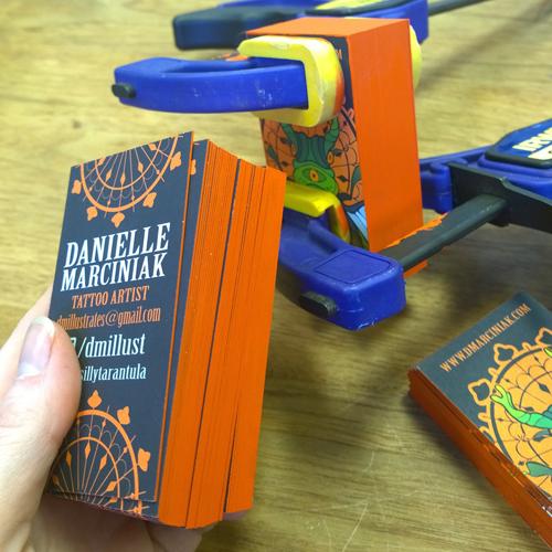 GotPrint Trifecta Green cards painted orange