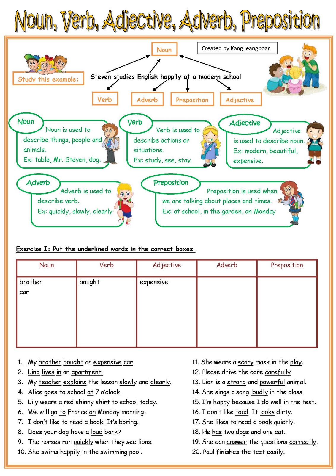 worksheet Noun Verb Worksheet Mytourvn Worksheet Study Site – Nouns Verbs and Adjectives Worksheets