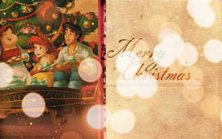 Ariel, Aurora and their Princes Wish You Merry Christmas in a Retro Style.