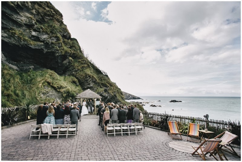 Wedding ceremony overlooking sea