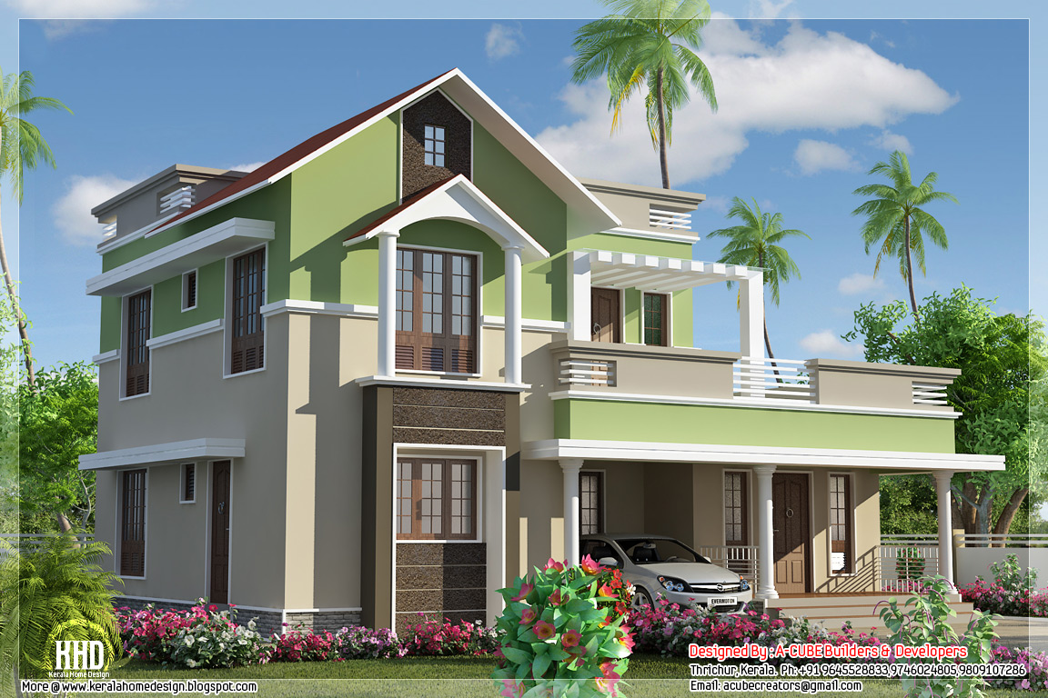 1785 Contemporary Mix 4 Bhk House Kerala Home