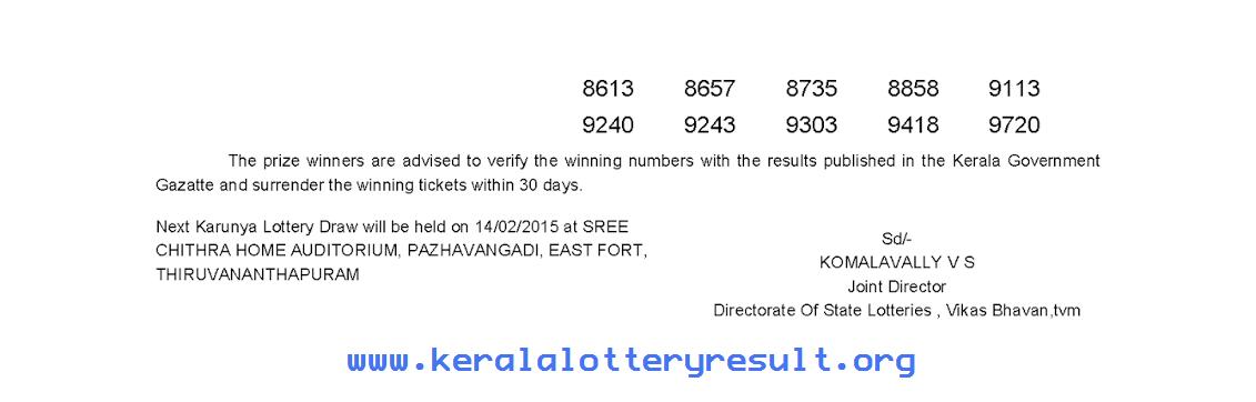 KARUNYA KR-176 Lottery Result 7-2-2015