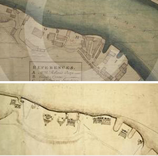 Two map snips, the upper showing the plan view of a section of the south bank of the river Wear and the lower a bird's eye view of the properties as if looking from the river